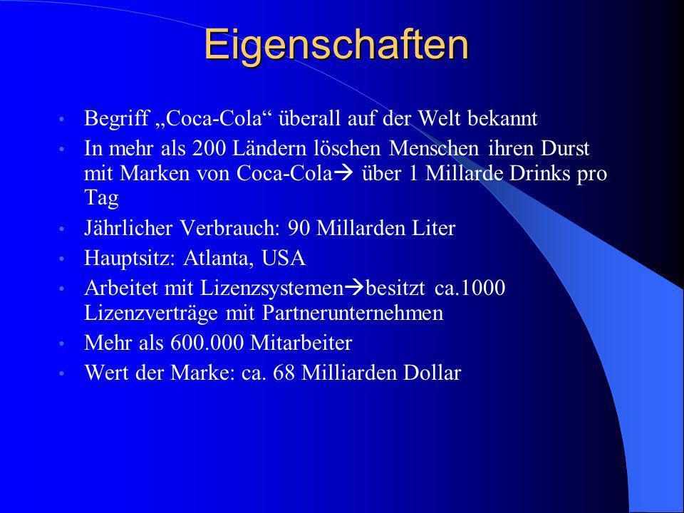 """Eigenschaften Begriff """"Coca-Cola überall auf der Welt bekannt"""