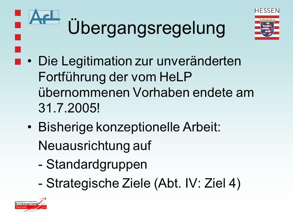Übergangsregelung Die Legitimation zur unveränderten Fortführung der vom HeLP übernommenen Vorhaben endete am 31.7.2005!