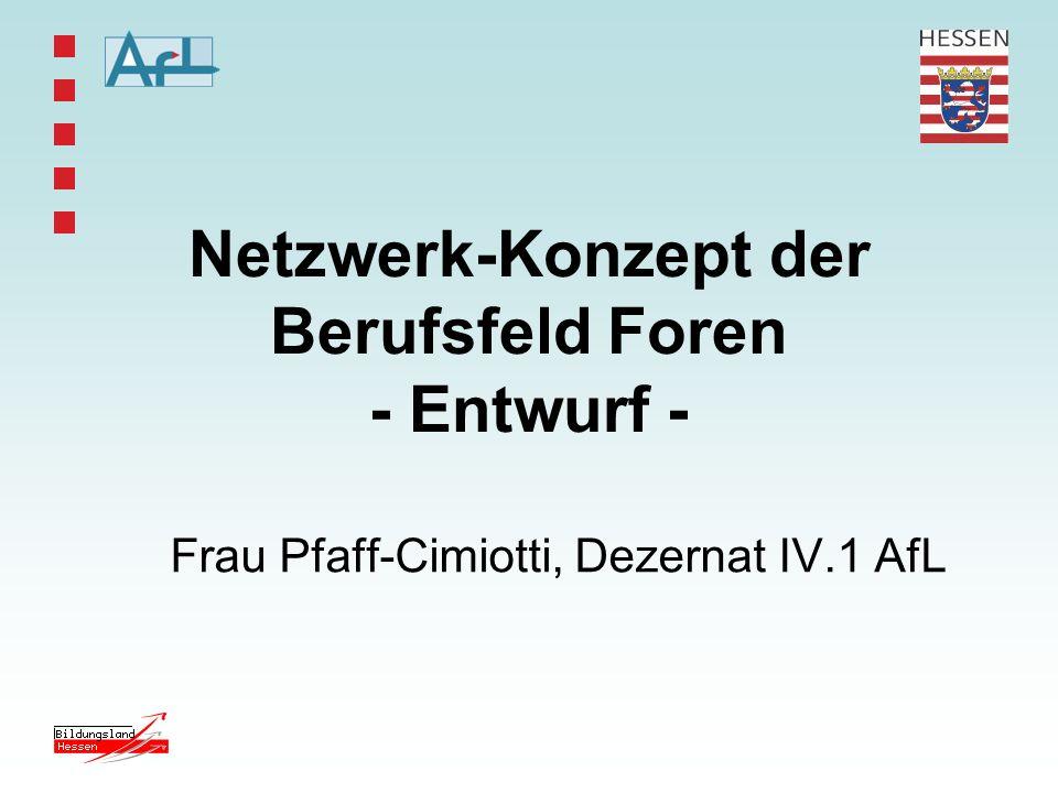Netzwerk-Konzept der Berufsfeld Foren - Entwurf -