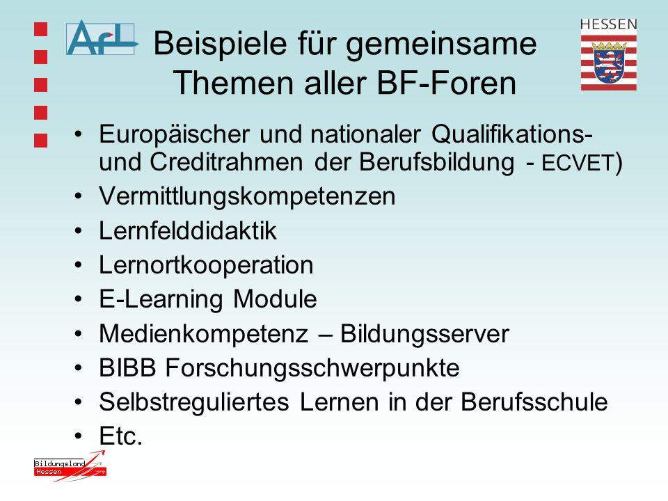 Beispiele für gemeinsame Themen aller BF-Foren
