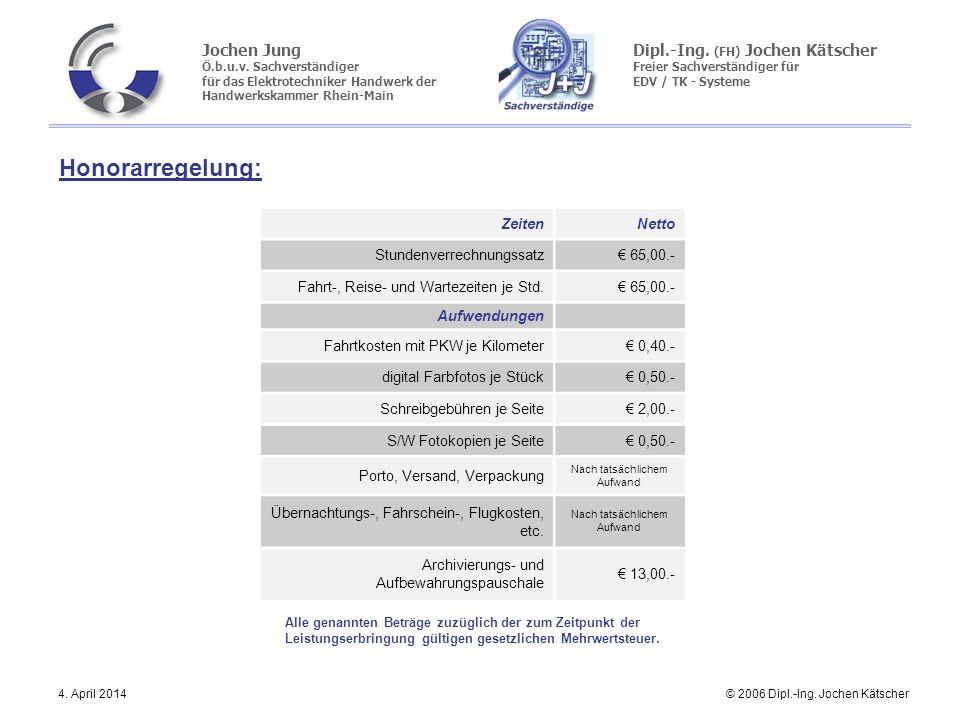 Honorarregelung: Zeiten Netto Stundenverrechnungssatz € 65,00.-