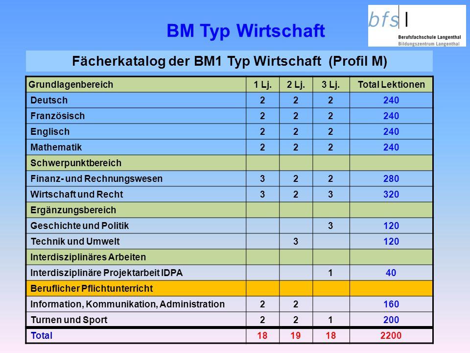Fächerkatalog der BM1 Typ Wirtschaft (Profil M)