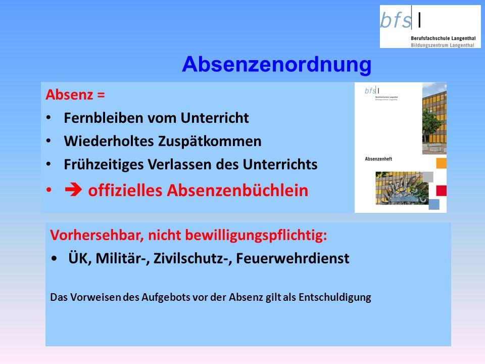 Absenzenordnung  offizielles Absenzenbüchlein Absenz =