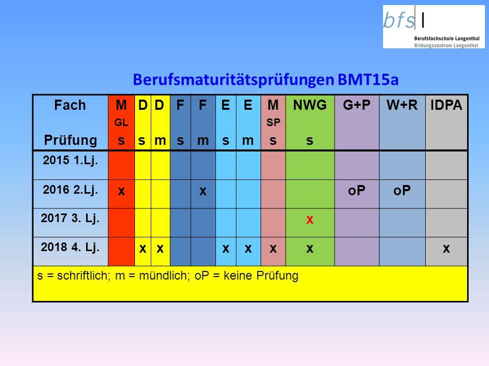 Berufsmaturitätsprüfungen BMT15a