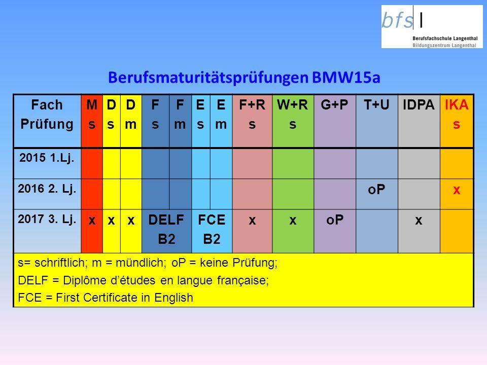 Berufsmaturitätsprüfungen BMW15a