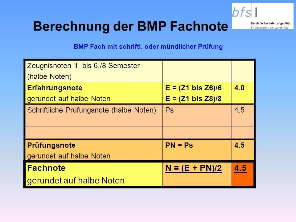 Berechnung der BMP Fachnote