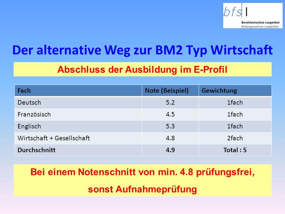 Der alternative Weg zur BM2 Typ Wirtschaft