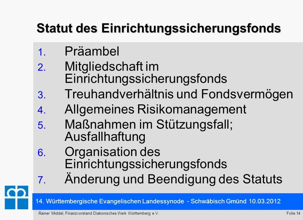 Statut des Einrichtungssicherungsfonds