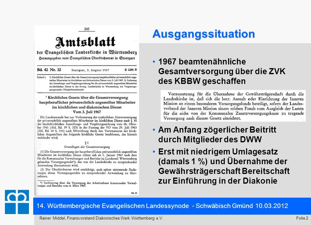 Ausgangssituation 1967 beamtenähnliche Gesamtversorgung über die ZVK des KBBW geschaffen. Am Anfang zögerlicher Beitritt durch Mitglieder des DWW.