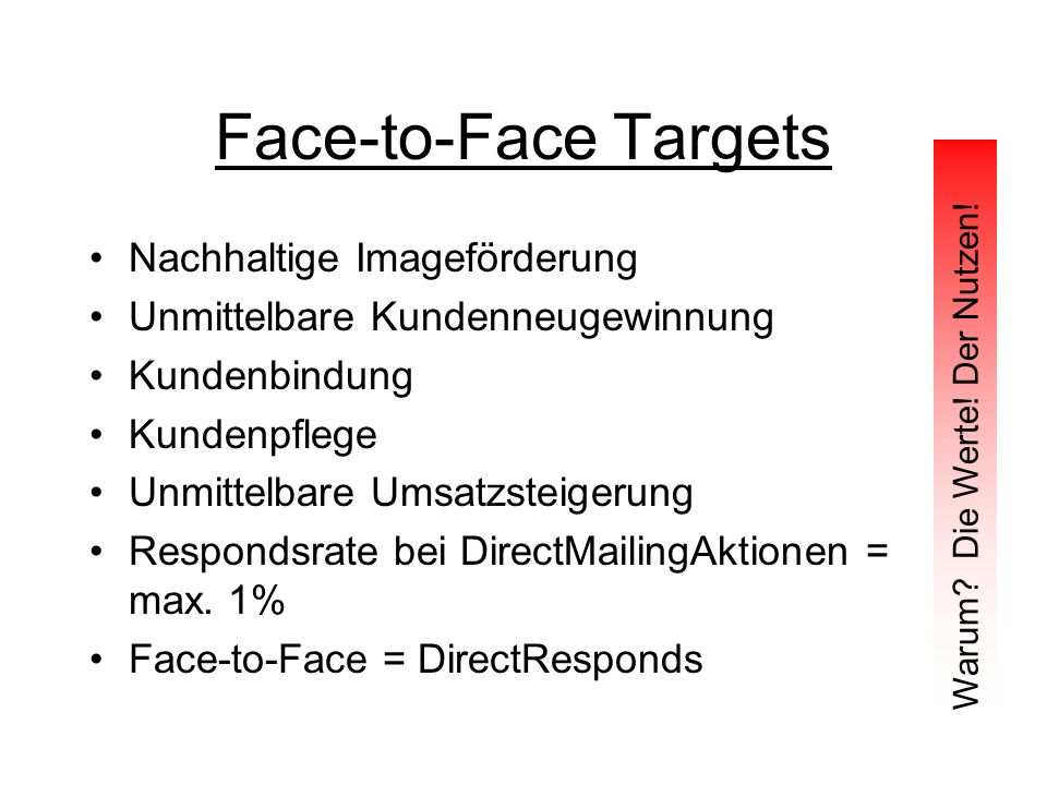 Face-to-Face Targets Nachhaltige Imageförderung