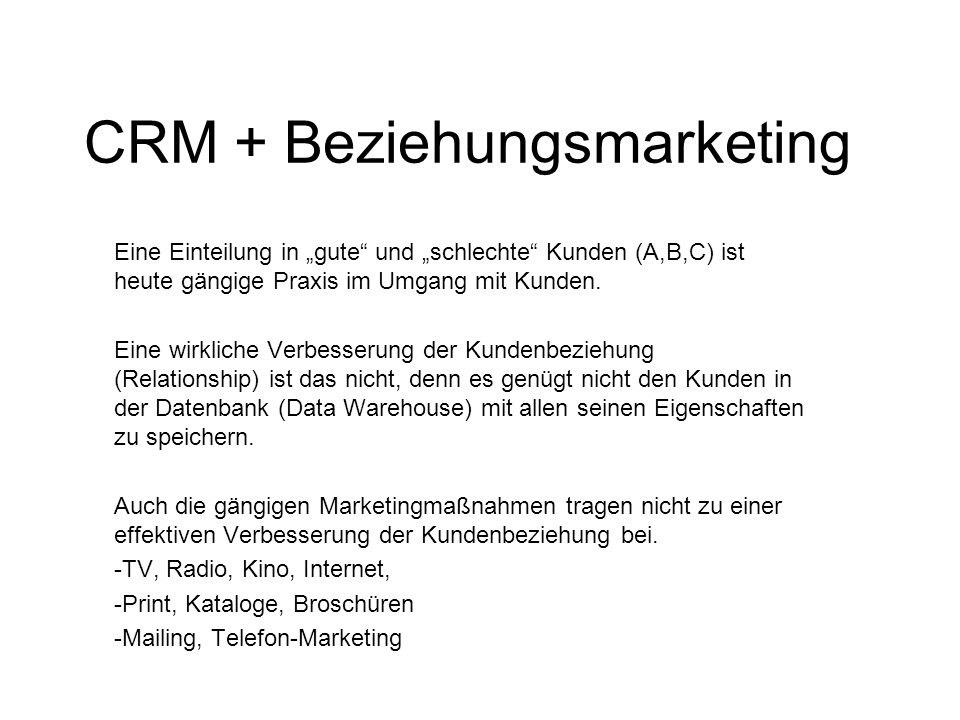 CRM + Beziehungsmarketing