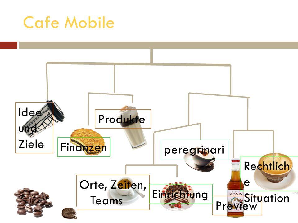 Cafe Mobile Idee und Ziele Produkte Finanzen peregrinari