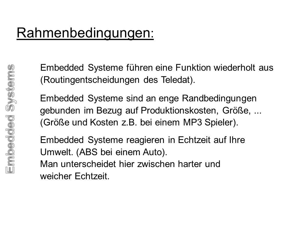 Rahmenbedingungen: Embedded Systeme führen eine Funktion wiederholt aus. (Routingentscheidungen des Teledat).