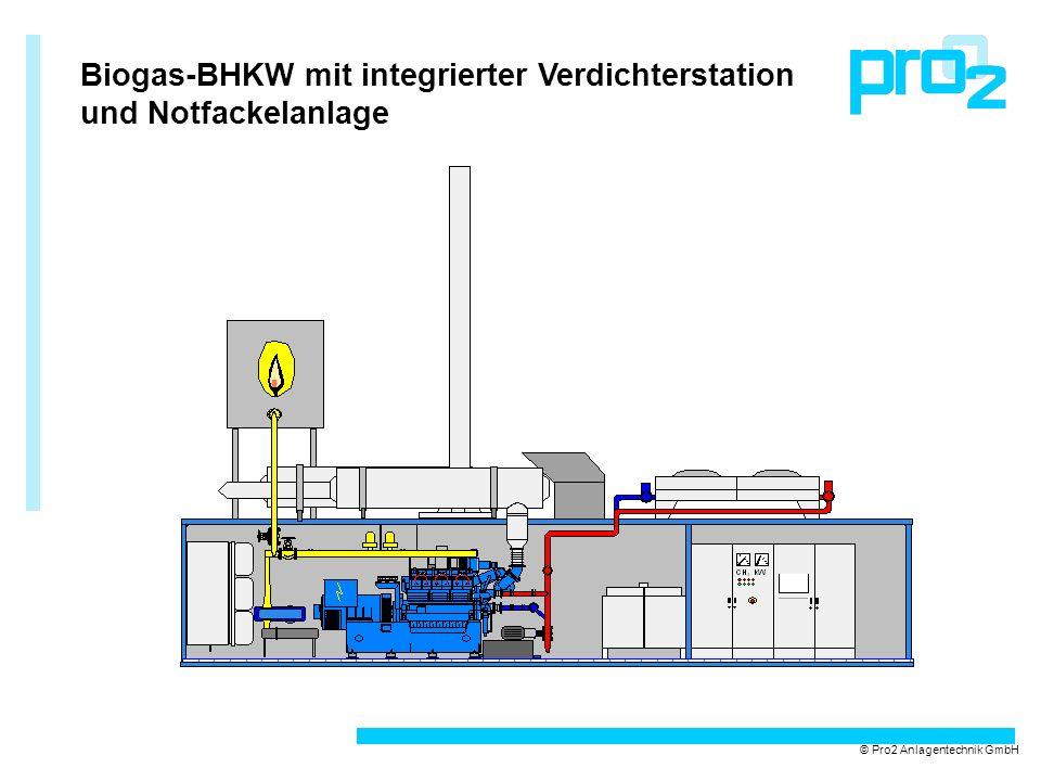 Biogas-BHKW mit integrierter Verdichterstation und Notfackelanlage