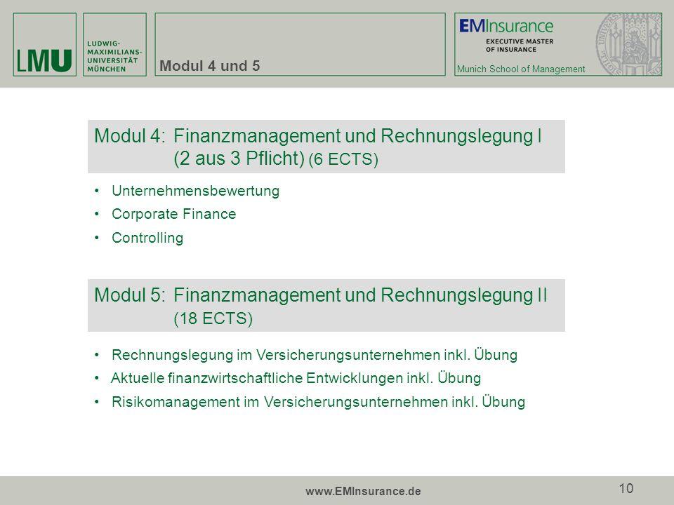 Modul 5: Finanzmanagement und Rechnungslegung II (18 ECTS)