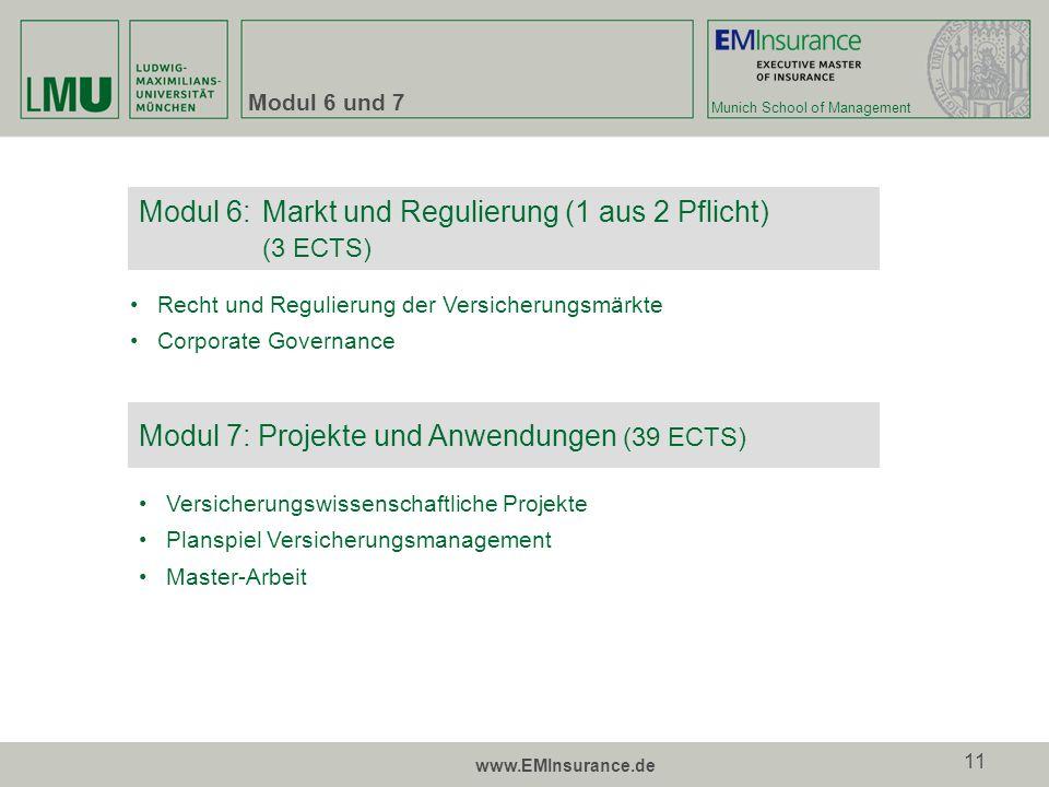 Modul 6: Markt und Regulierung (1 aus 2 Pflicht) (3 ECTS)