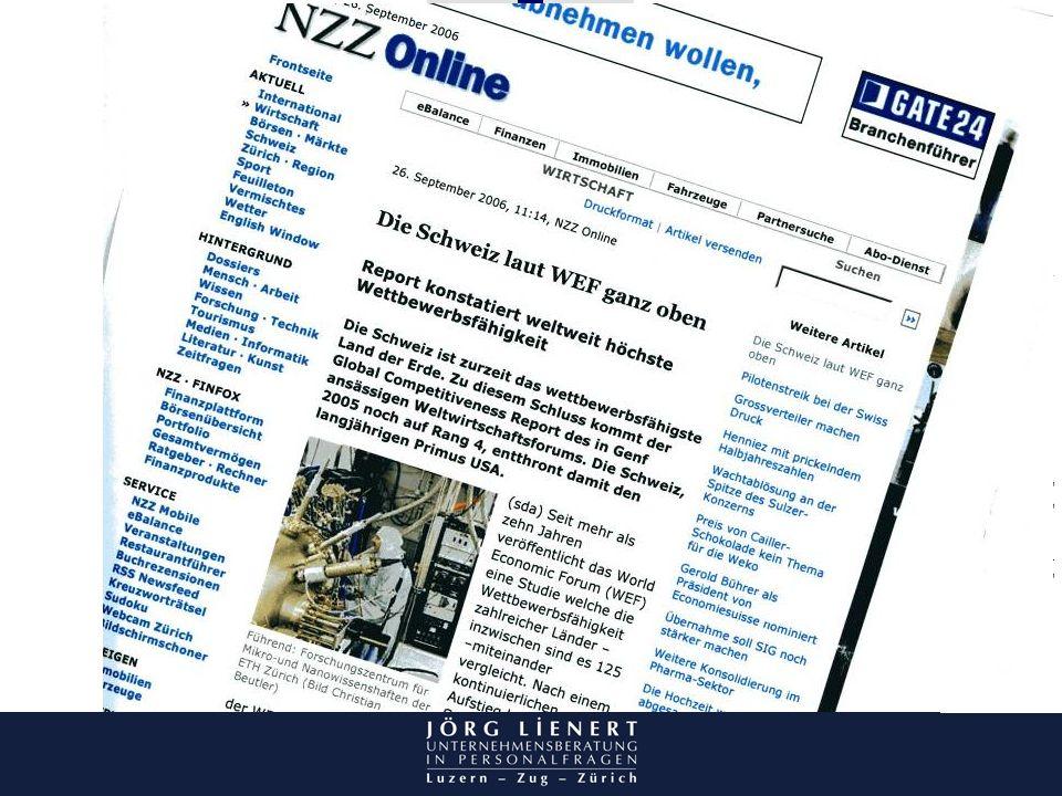 Abbildung NZZ. Schweiz Wettbewerbsführend