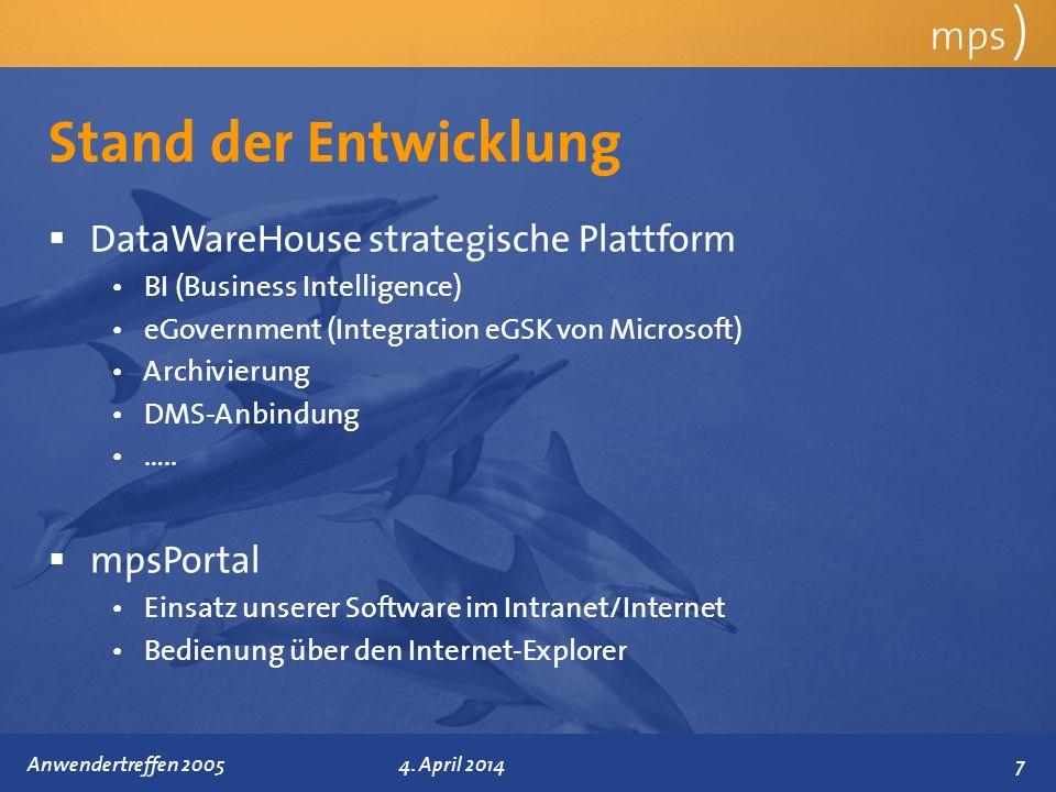 Stand der Entwicklung mps ) DataWareHouse strategische Plattform