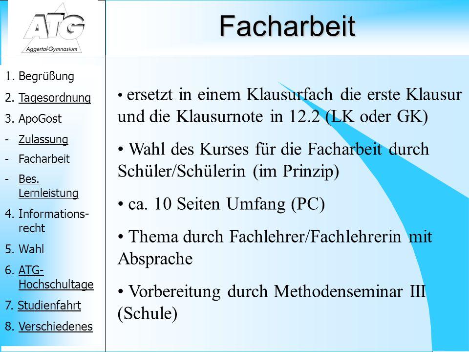 Facharbeit ersetzt in einem Klausurfach die erste Klausur und die Klausurnote in 12.2 (LK oder GK)