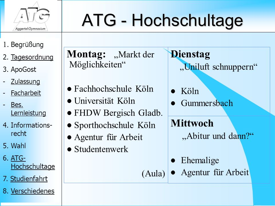 """ATG - Hochschultage Montag: """"Markt der Möglichkeiten Dienstag"""