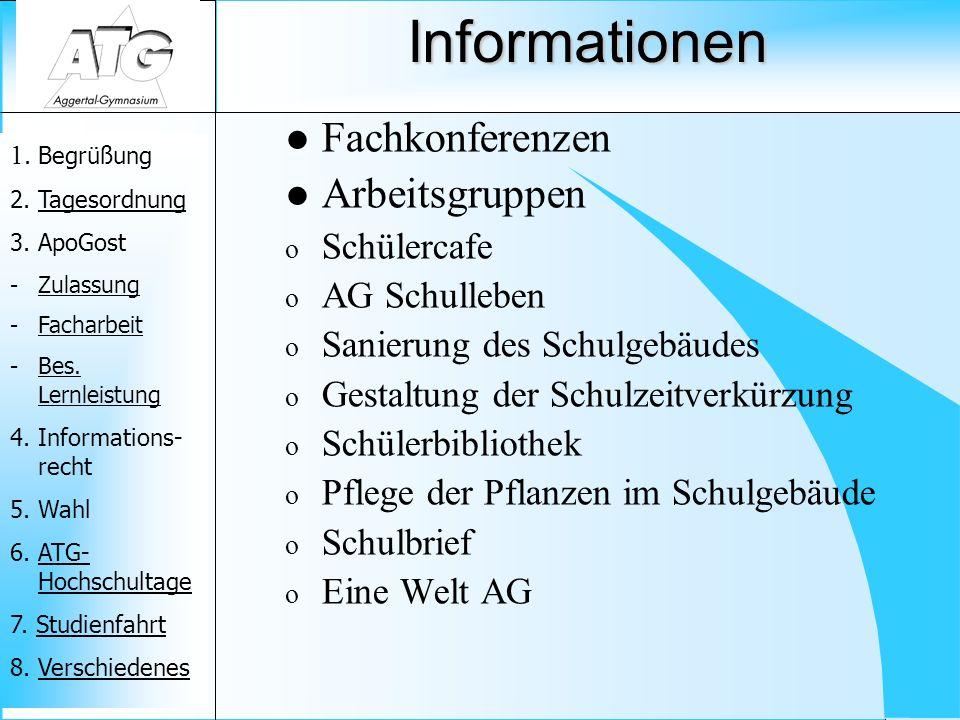 Informationen Fachkonferenzen Arbeitsgruppen Schülercafe AG Schulleben