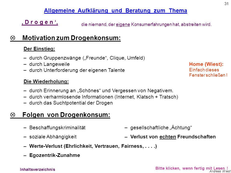 Allg. Aufklärung – Motivation + Folgen