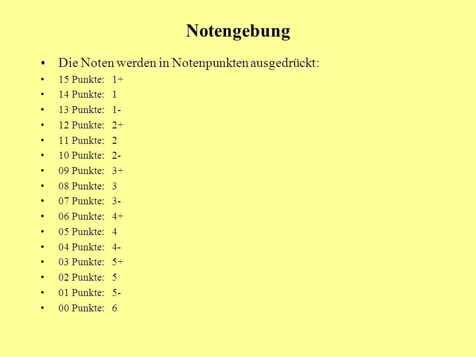 Notengebung Die Noten werden in Notenpunkten ausgedrückt: