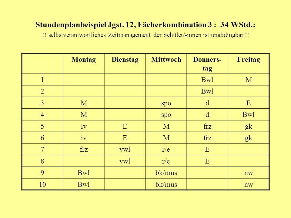 Stundenplanbeispiel Jgst. 12, Fächerkombination 3 : 34 WStd. :