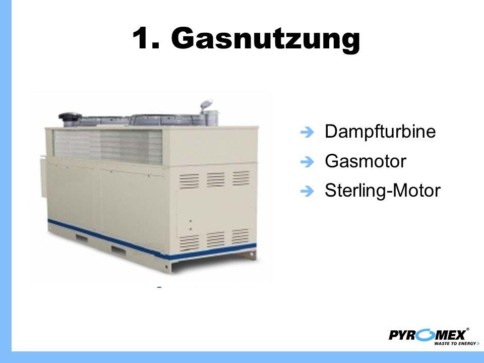 1. Gasnutzung Dampfturbine Gasmotor Sterling-Motor