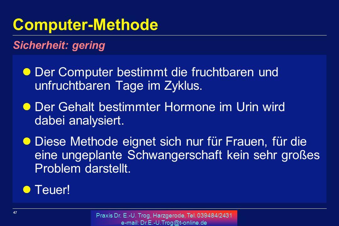 Computer-Methode Sicherheit: gering. Der Computer bestimmt die fruchtbaren und unfruchtbaren Tage im Zyklus.