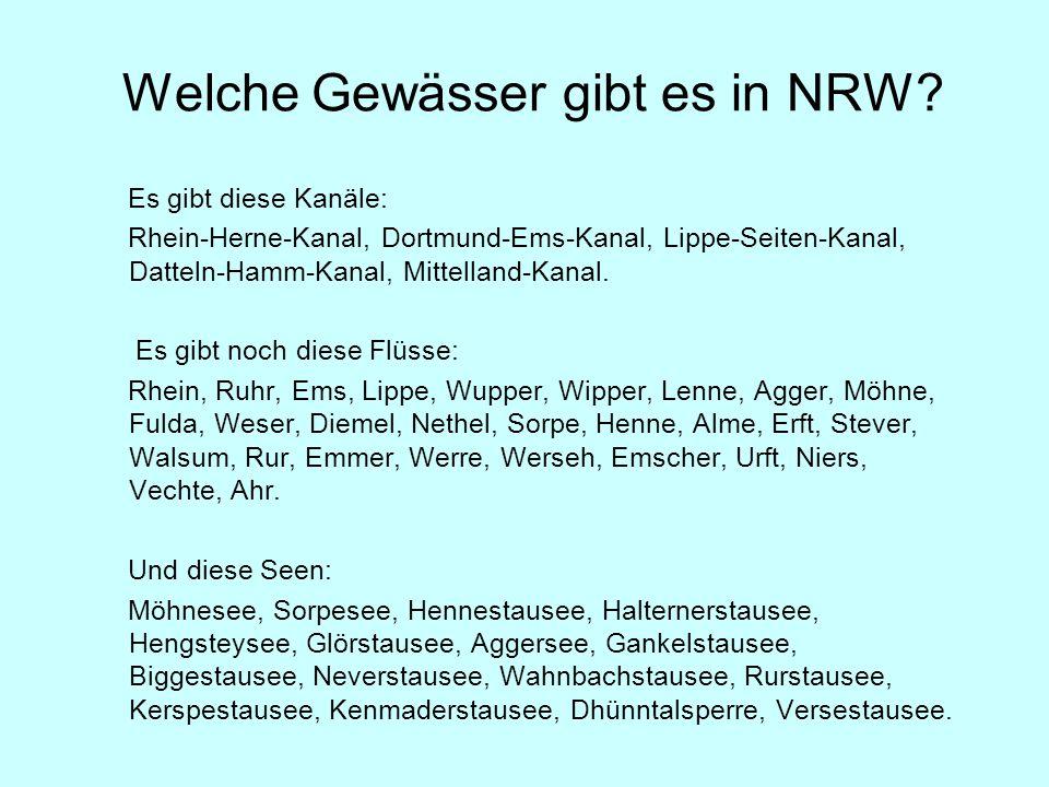 Welche Gewässer gibt es in NRW