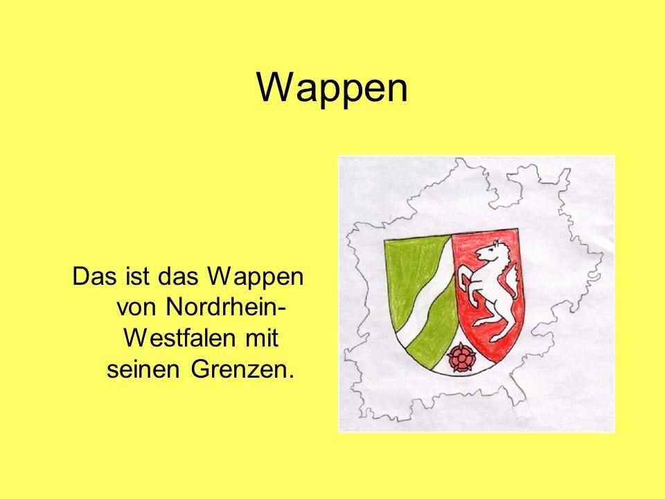 Das ist das Wappen von Nordrhein-Westfalen mit seinen Grenzen.
