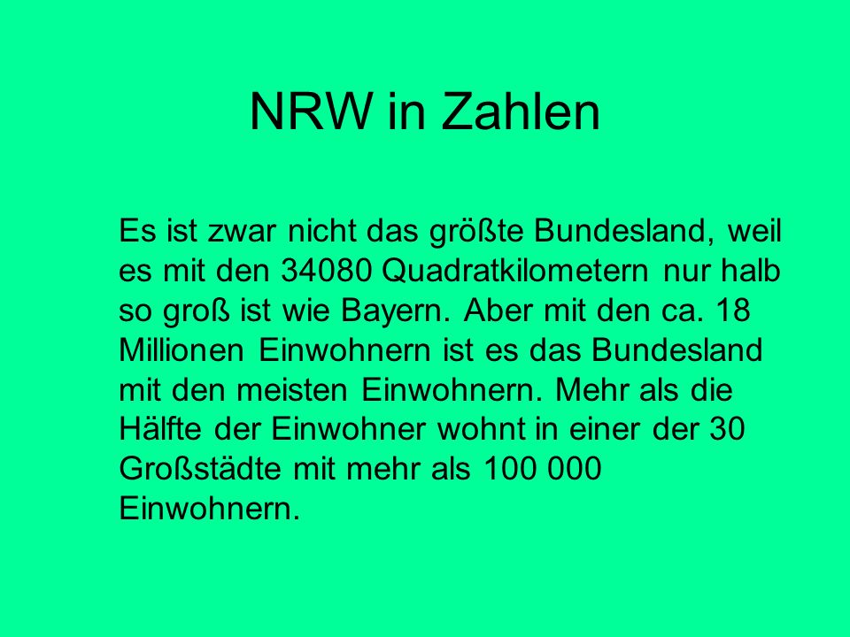 NRW in Zahlen