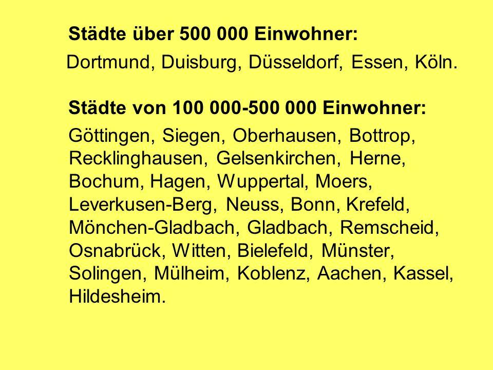 Städte über 500 000 Einwohner:
