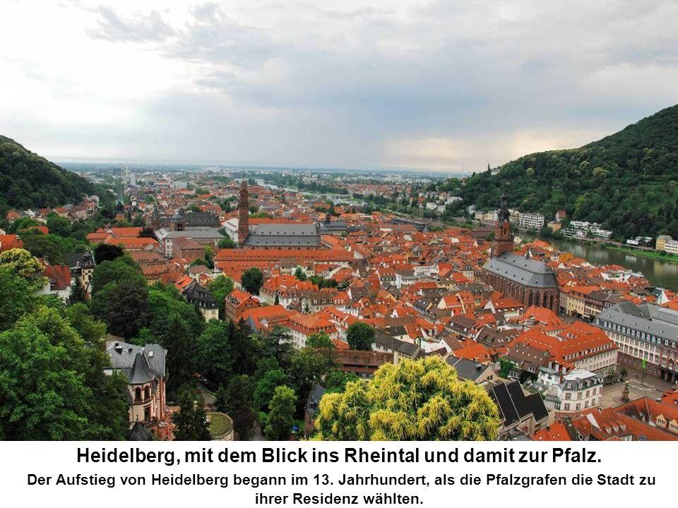 Heidelberg, mit dem Blick ins Rheintal und damit zur Pfalz.