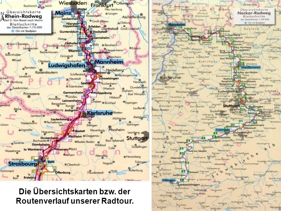 Die Übersichtskarten bzw. der Routenverlauf unserer Radtour.