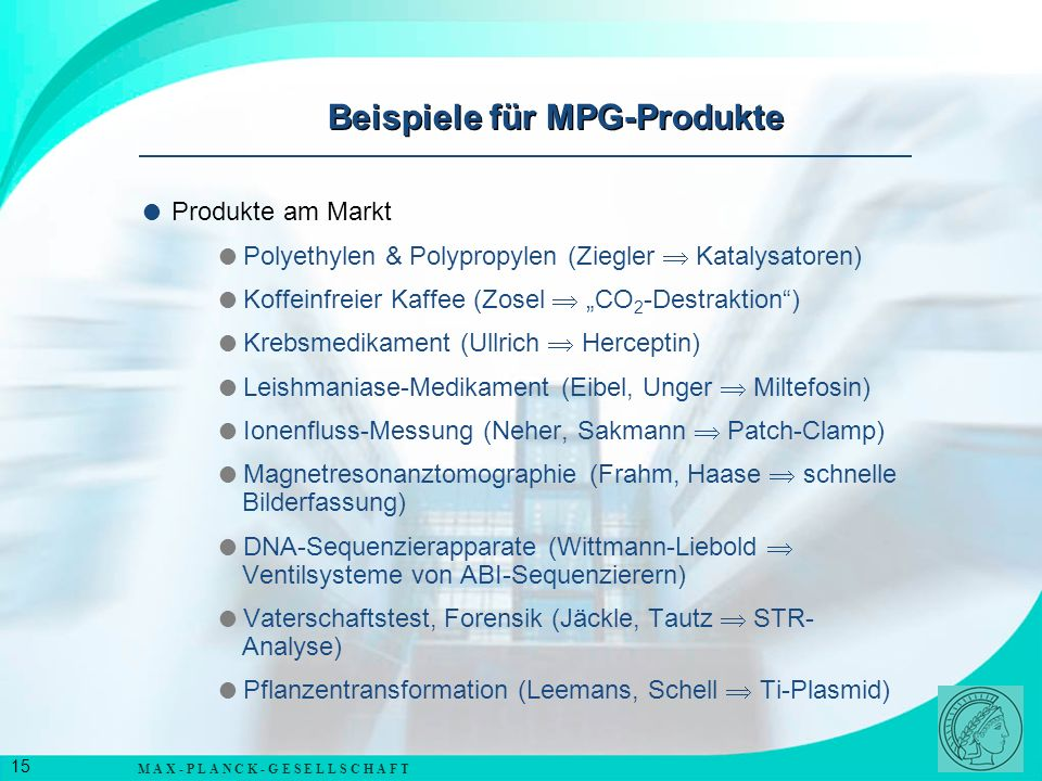 Beispiele für MPG-Produkte