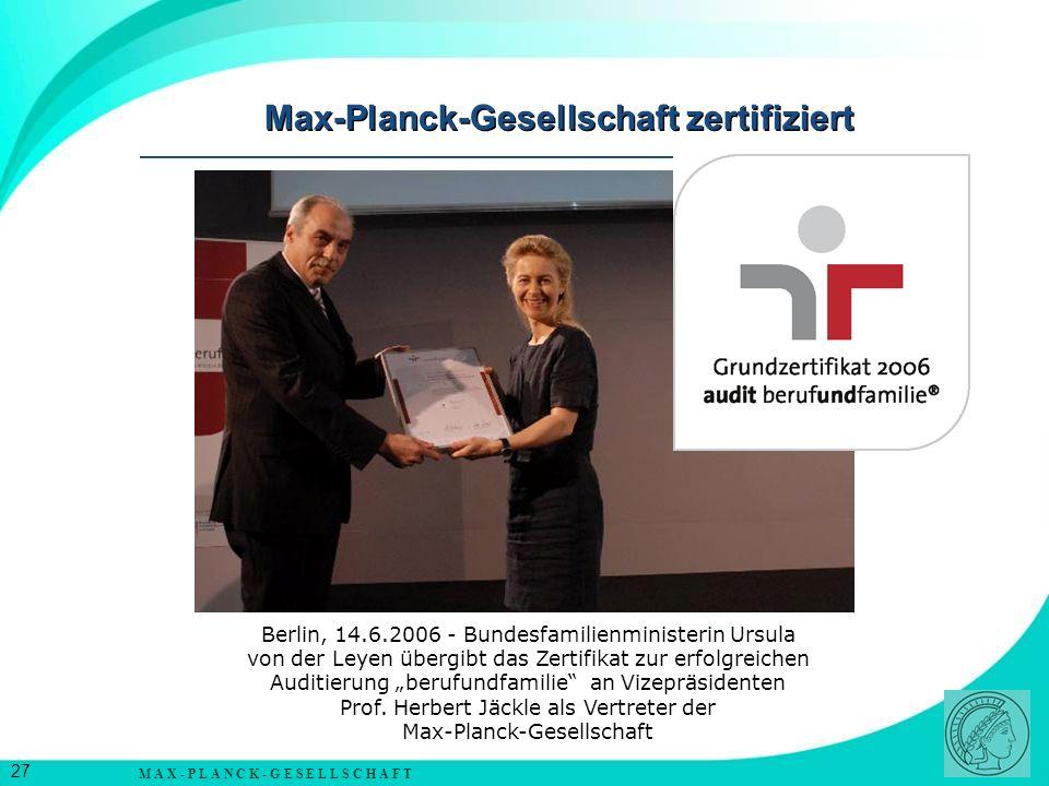 Max-Planck-Gesellschaft zertifiziert