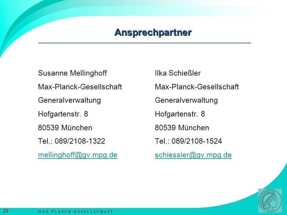Ansprechpartner Susanne Mellinghoff Ilka Schießler