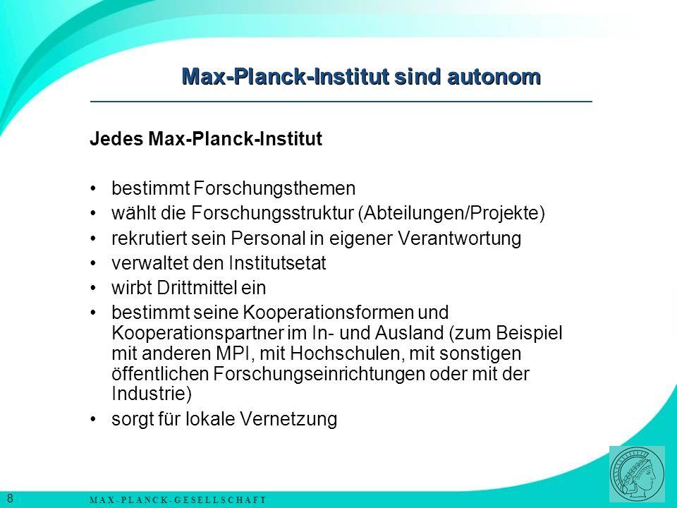 Max-Planck-Institut sind autonom