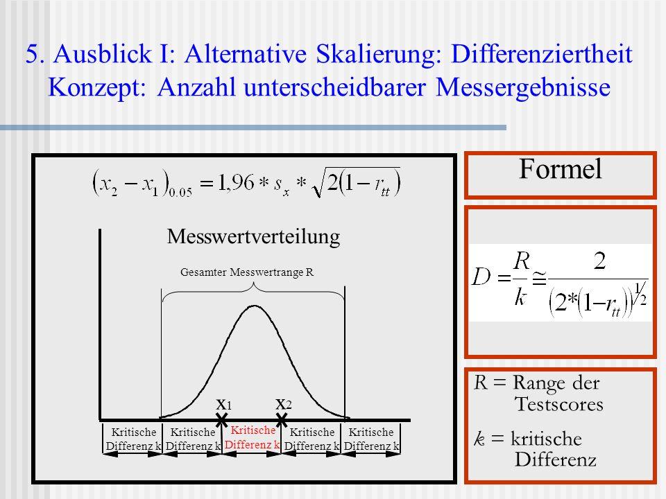 5. Ausblick I: Alternative Skalierung: Differenziertheit Konzept: Anzahl unterscheidbarer Messergebnisse
