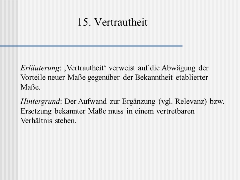 15. Vertrautheit Erläuterung: 'Vertrautheit' verweist auf die Abwägung der Vorteile neuer Maße gegenüber der Bekanntheit etablierter Maße.