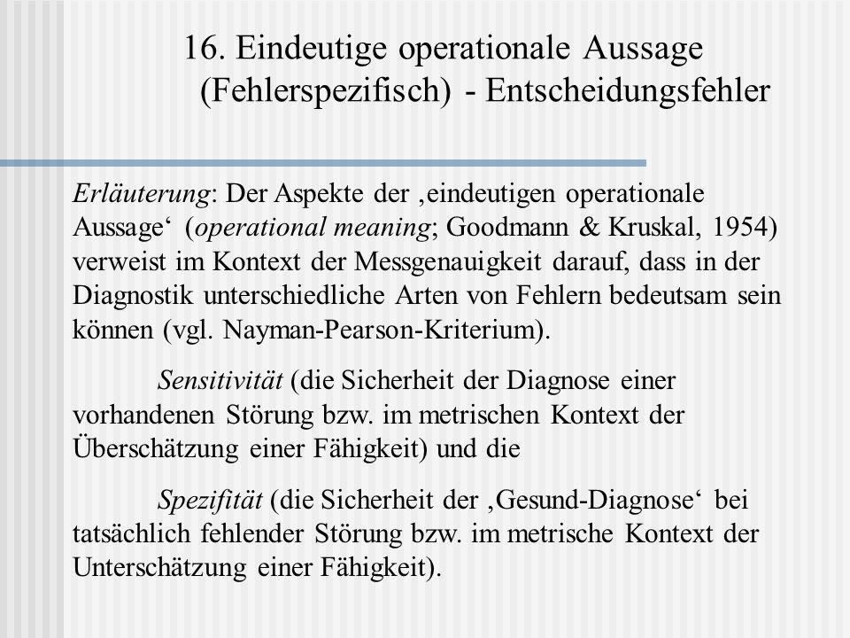 16. Eindeutige operationale Aussage