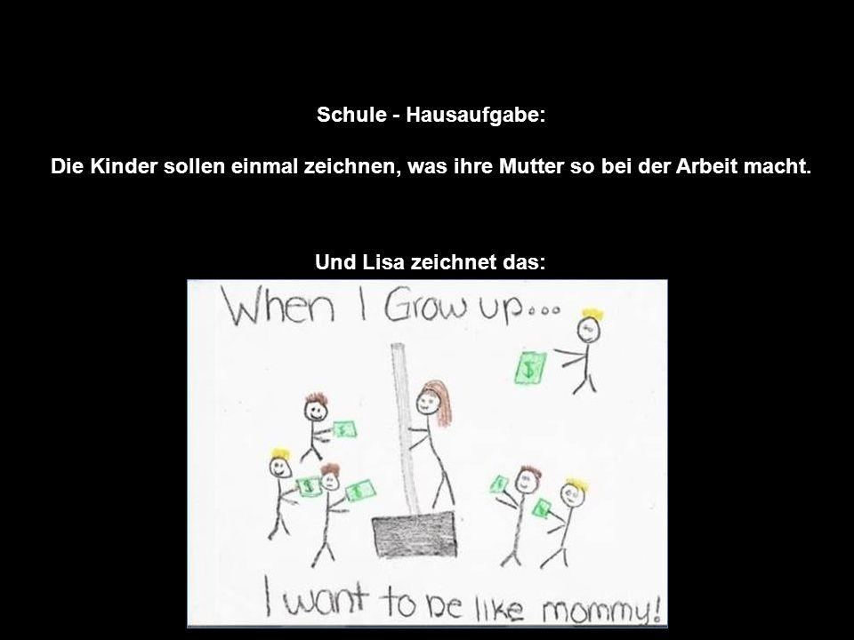 Schule - Hausaufgabe: Die Kinder sollen einmal zeichnen, was ihre Mutter so bei der Arbeit macht.
