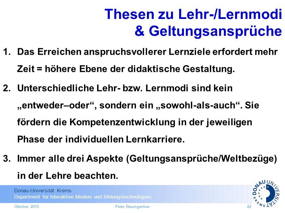 Thesen zu Lehr-/Lernmodi & Geltungsansprüche