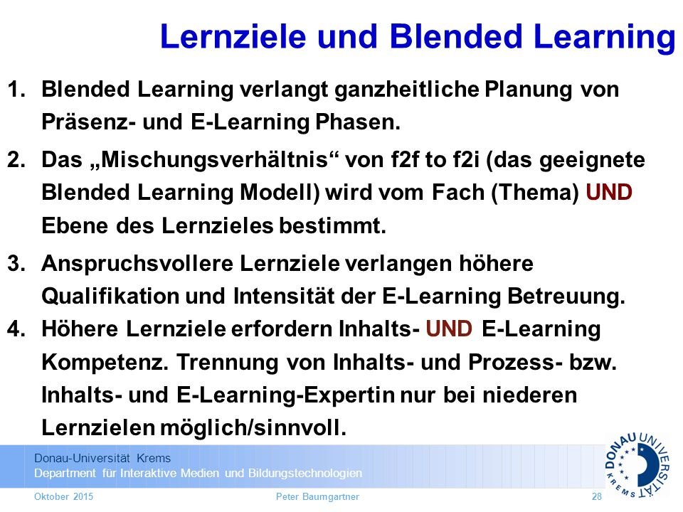 Lernziele und Blended Learning