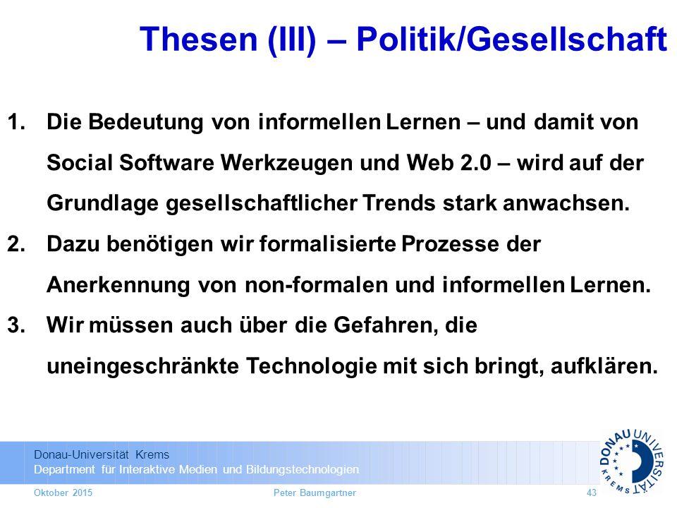 Thesen (III) – Politik/Gesellschaft
