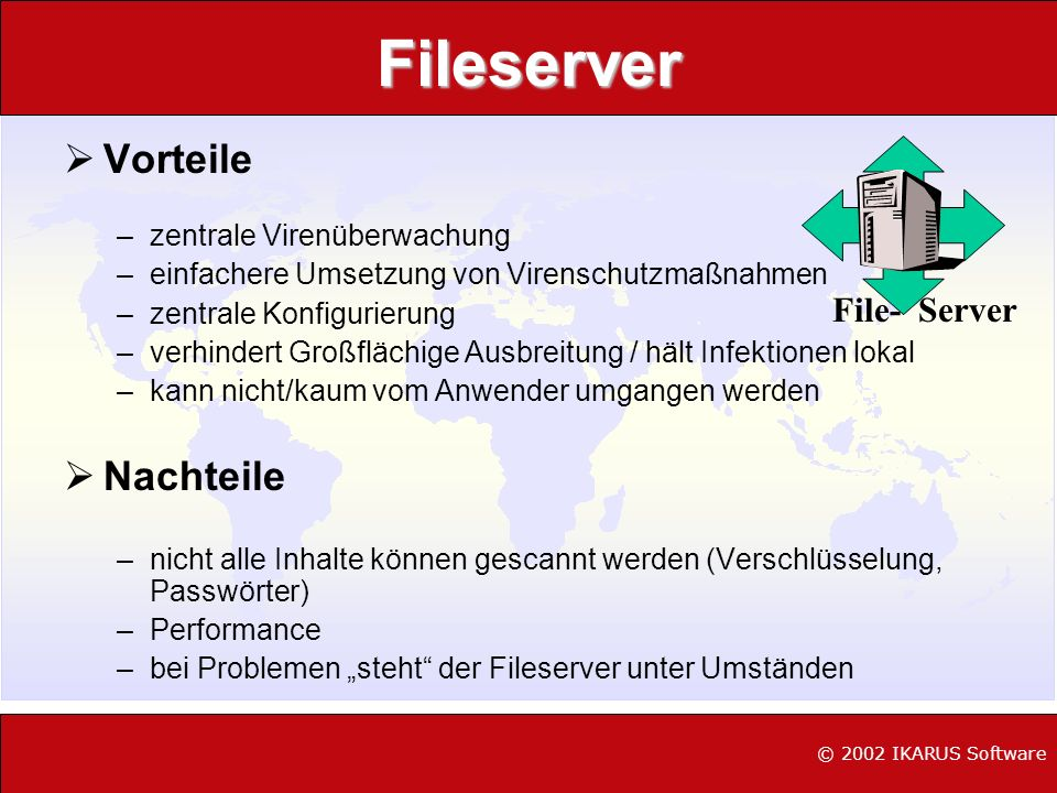 Fileserver Vorteile Nachteile File- Server zentrale Virenüberwachung