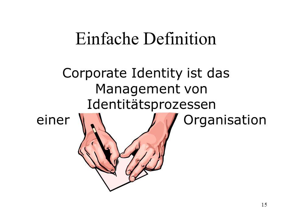 Leistungskurs Skript Einfache Definition. Corporate Identity ist das Management von Identitätsprozessen einer Organisation.