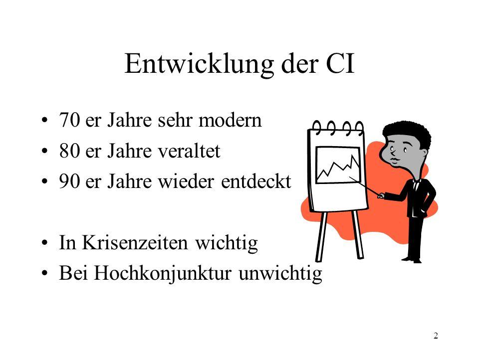 Entwicklung der CI 70 er Jahre sehr modern 80 er Jahre veraltet